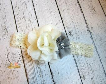 Cream/Ivory & Gray Bridal Headband with Rhinestone Pearl. Wedding Bridal Flower Girl Bride bridesmaid Women