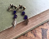 Cobalt Blue Clip On Earrings, Screw back, Dark Blue Beaded Earring