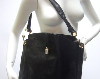 Italian Sleek Black Leather Shoulder Bag c 1980