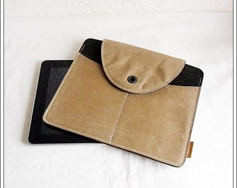 Wool felt - Tablet Case with genuine leather for iPad