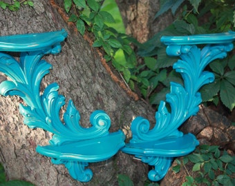 Turquoise Wall Sconce Shelves