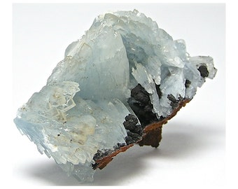 Blue Barite Crystal Cluster with Black Goethite Mineral Specimen from Morocco