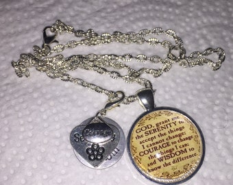 Serenity Prayer, Serenity, Courage, Wisdom Charm Necklace