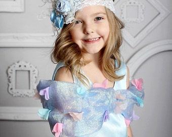 Icy baby blue couture headband- princess crown vintage headband- m2m princess dress- baby princess headband