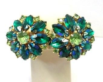 Large Green Rhinestone Tiered Flower Earrings Emerald Green Peridot Woodland Wedding Bridal Earrings Green Rhinestone Flower Earrings DD 811