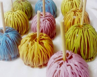 Caramel Apples with Spring Colors