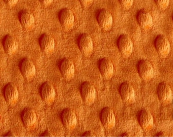 "Orange Cuddle Dimple Dot Minky Fabric Remnant - 15"" x 37"", Shannon Fabrics"