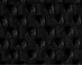"Black Cuddle Dimple Dot Minky Fabric Remnant - 22"" x 39"", Shannon Fabrics"