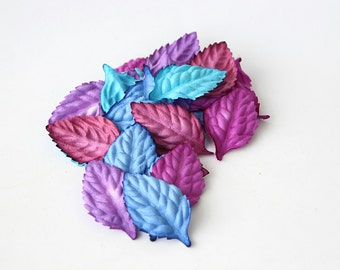 50 pcs - Mulberry paper leaves - Mixed lilac colors -2.5 x 4 cm (1 x 1/2 inch)