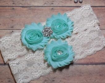Mint garter, Wedding garter, Lace Garter, White Garter, Garter, Mint Green Garter, Brides Garter, Rustic Garter, Green Garter, Mint Wedding