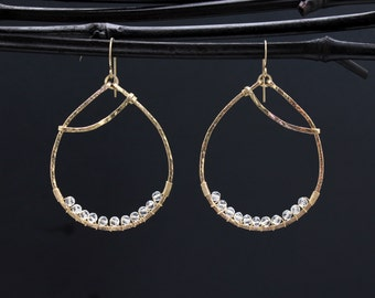 Large Gold Oval Shaped Quartz Crystal Earrings Hoops - Wire Wrapped Oval Gold Hoops - Large Sexy Earrings/Artisan Earrings TGG