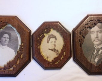 Antique Early 1900's B/W Pics Postcards Cutout Gold Matting With Frames