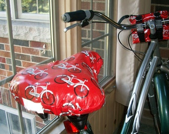 Bicycle Seat Cover Bikes on Red - Weatherproof