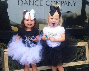 Love Rhinestone Bow Tee & Tutu Set - Infant Toddler - Rhinestone Heart Bow - Black White Set