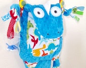 Dinosaur Baby Blanket Security Lovey Cuddle Tag Toy Pacifier Buddy