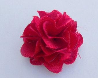 Bright Red Lapel Flower Satin
