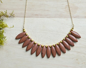 Brown Spike Necklace / Stone Bib Necklace Gold and Brown Ready to Ship Jewelry