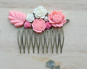 Pink and Cream Flower Hair Comb Vintage Style Hair Comb Wedding Hair Piece Roses and Leaves