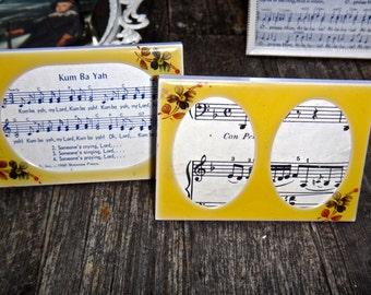 Vintage Frames, Yellow Floral Frames, Boho Chic, Frames, SET Frames, PAIR, Small Frame, Place Card, Oval Frames, TWO Frames, Yellow Frame