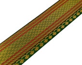 Olive Green and Gold Zari Ribbon - Olive Green and Gold Border / Trim by Yard