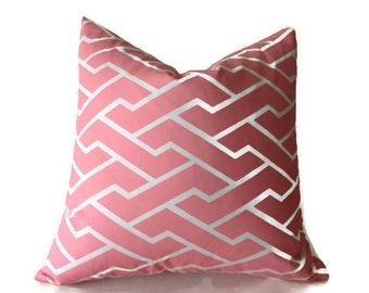 Caitlin Wilson Pink City Maze Pillow Cover, Throw Pillows, Pink Pillows, High End, Pink Pillows, Geometric Pillows, Designer Fabric