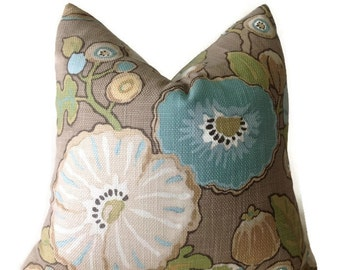 Floral Pillows, Designer Pillow Cover, Mocha, Wheat,Throw Pillows, Hip Dove Pillows,Decorative Throw Pillow Cover