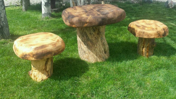 Toadstool patio table wood mushroom chainsaw