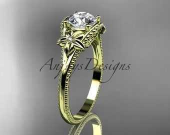 14k yellow gold leaf and flower diamond unique engagement ring ADLR375