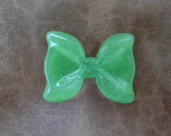 1 pc  GLITTER Resin Flatback Bow GREEN