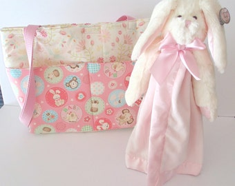 Pink Bunny Baby Diaper Bag/Handcrafted Diaper Bag