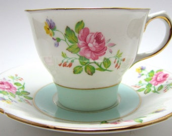Rose pattern tea cup and saucer, HM Sutherland,  Bone China tea set, vintage English tea set
