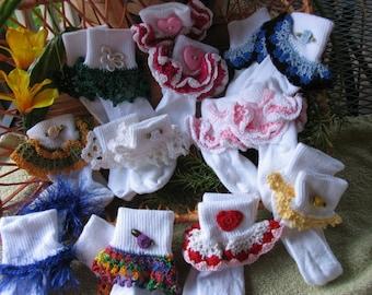 New Listing, Crochet Trimmed Socks
