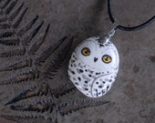 Handpainted Snowy owl necklace