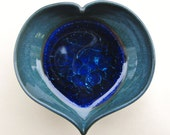 Teal Blue Tiny Pots with Dark Blue Glass, Miniatures, Ring Holders, Trinket Catchers, Perfect for Mother's Day, Valentine's Day