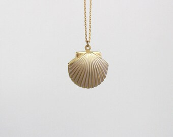 "gold Locket necklace, Seashell Necklace, Gold Shell Necklace, 24"" long necklace, For Beach Weddings"