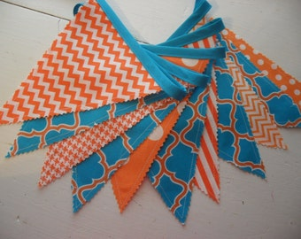 Fabric Banner, Orange and Turqoise Banner, Bunting Banner, Nursery Decor, Wedding, Photo Prop, Orange, Turqoise, Ready to Ship!!