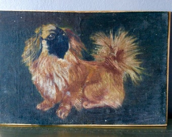 Antique oil on canvas panel Dog Painting, France
