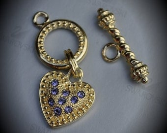 Genuine Large Gold Plated Swarovski Crystal Heart Toggle Clasp - Tanzanite