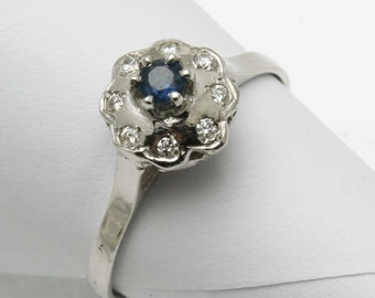 Vintage 14k white gold Blue Sapphire & diamond FLOWER ring Reproduction dainty