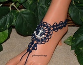 Nautical Foot Jewelry, Anchor Anklet, Rhinestone Beach Wedding Barefoot Sandals, Bridal Anklets, Nautical Bride Shoes Sandal