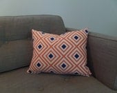 Orange, Blue, and White Geometric Zippered Pillow Cover