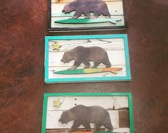 Vintage Inspired California Surfer Bear Plank… Surf Beach Bear California Ocean