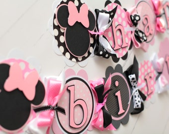 Minnie Mouse Happy Birthday Banner Pink/Black/White