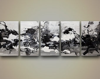 "Modern Abstract Painting, Original Abstract Art Black White Gray Acrylic Painting by Osnat - 60""x24"""