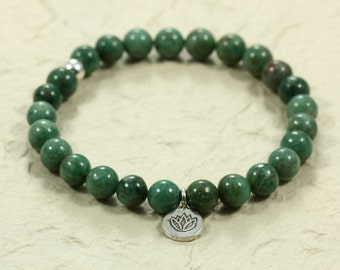 African Jade Stacking Bracelet with Hill Tribe Silver Lotus Charm, Stretch Bracelet, Sterling Silver, Lotus Charm Bracelet