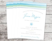 Beachy Watercolor Starfish Bridal Shower Invitation  Printed - DIY Printables
