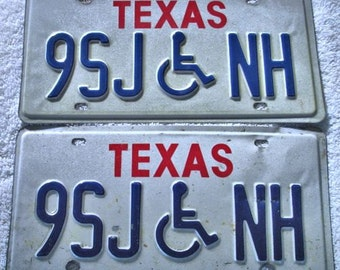 Vintage Set Of Texas Handicap License Plates Auto Car License Plates Crafts