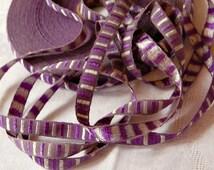 Vintage French woven trim, purple silver trim, aubergine trim, narrow trim, woven ribbon, French passementerie, mauve, dolls clothing, 3mtrs