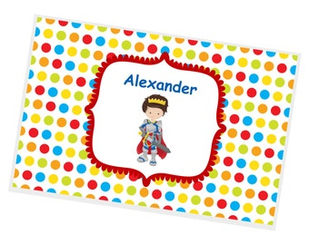 Prince Personalized Placemat -  Prince Dark Cape Polka Dot with Name, Customized Laminated Placemat