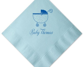 Baby Boy Stroller Personalized Napkins